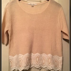 LAUREN CONRAD Boxy crop sweater with lace trim